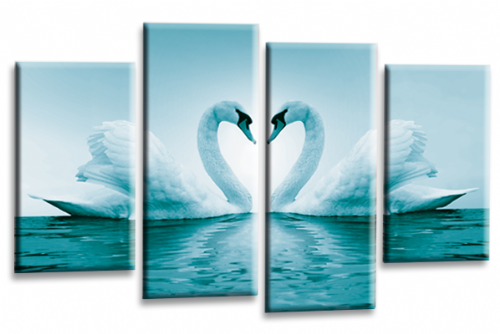 Love Swans Canvas Wall Art Picture Kissing Heart White Teal Print